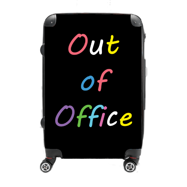 Out Of Office - Singular Luggage Custom Luggage and Backpacks.  Design your own artwork decoration.