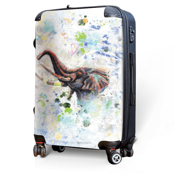 Male Elephant - Singular Luggage Custom Luggage and Backpacks.  Design your own artwork decoration.