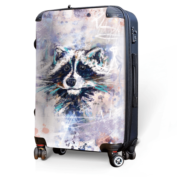 Raccoon - Singular Luggage Custom Luggage and Backpacks.  Design your own artwork decoration.
