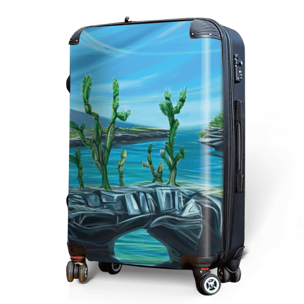 Seaside Cactus - Singular Luggage Custom Luggage and Backpacks.  Design your own artwork decoration.