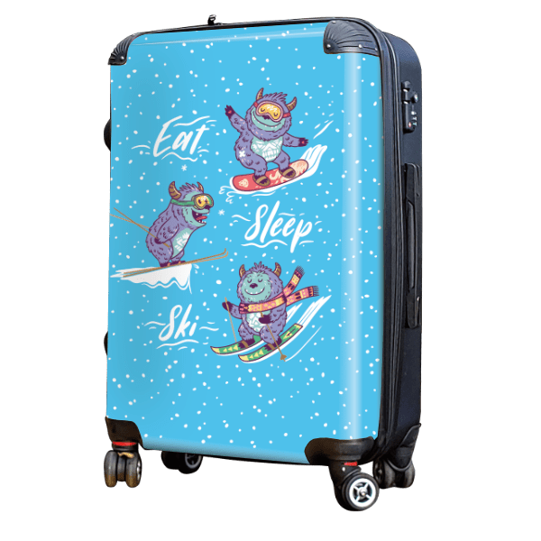 Skiing Yeti - Singular Luggage Custom Luggage and Backpacks.  Design your own artwork decoration.