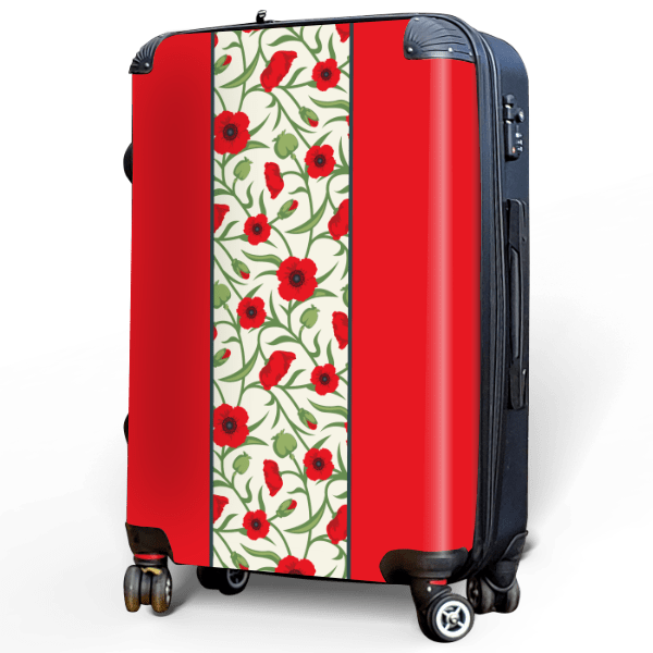 Red Poppies - Singular Luggage Custom Luggage and Backpacks.  Design your own artwork decoration.