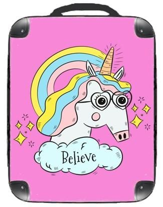 Believe Unicorn Backpack - Singular Luggage Custom Luggage and Backpacks.  Design your own artwork decoration.
