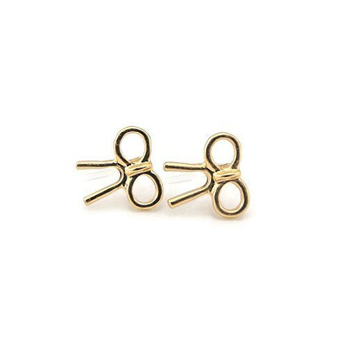 Bow Invisible Clip On or Plastic Post Stud Look Earrings, 12mm Gold-Tone