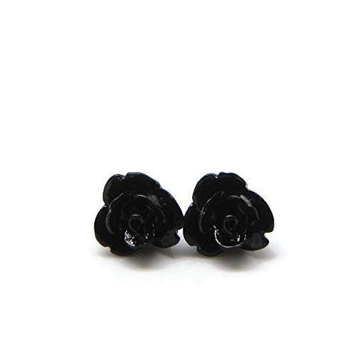 Pretty Smart earrings black 9mm rose on metal free plastic posts