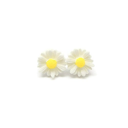 Metal Free Daisy Earrings on Plastic Posts for Sensitive Ears