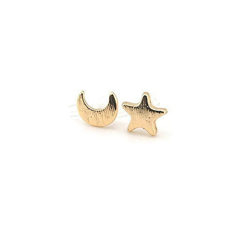 Mismatched Moon and Star Invisible Clip On or Plastic Post Stud Look Earrings