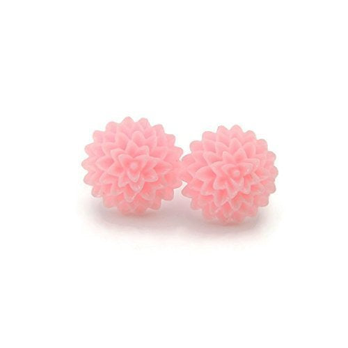 Metal Free light pink Dahlia Earrings on Plastic posts for sensitive ears