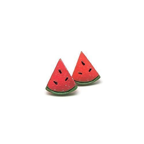 Plastic Post Metal Free Watermelon Earrings, 14mm