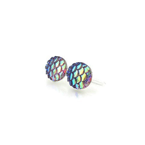 10mm Mermaid Scale Earrings Invisible Clip On or Plastic Post