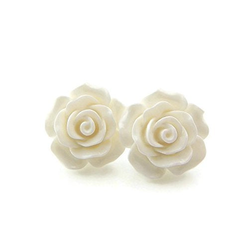 Large 20mm White Rose stud earrings on metal free plastic posts