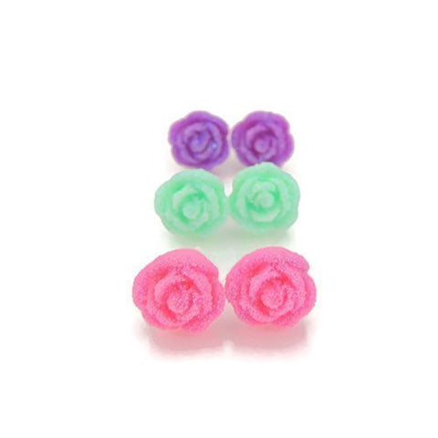 10mm Frosted Rose Floral Earrings on Plastic Posts or Invisible Clip On, Metal Free Trio Gift Set
