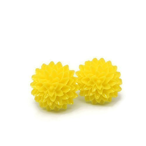 Metal Free yellow Dahlia Earrings on Plastic posts for sensitive ears