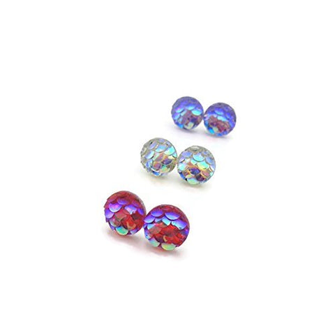 8mm Tiny Mermaid Scale Earrings, Gift Set Trio Plastic Post or Invisible Clip On
