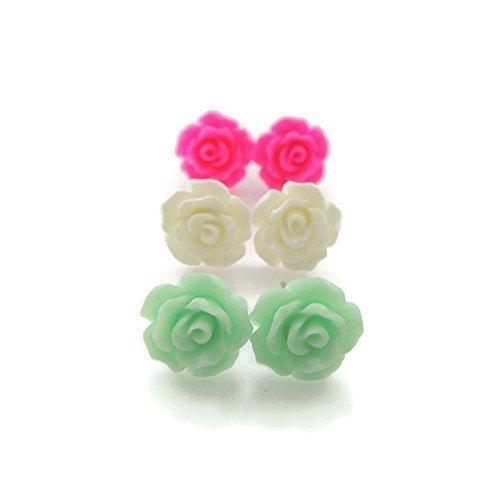 Metal Free Rose Earring Trio Gift Set Hypoallergenic for Metal Sensitive Ears