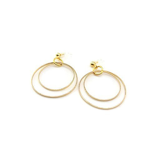 Dangle Earrings Double Circle Invisible Clip On or Plastic Hook