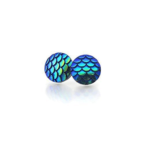 Plastic Posts or Invisible Clip On Round Mermaid Scale Earrings, 12mm
