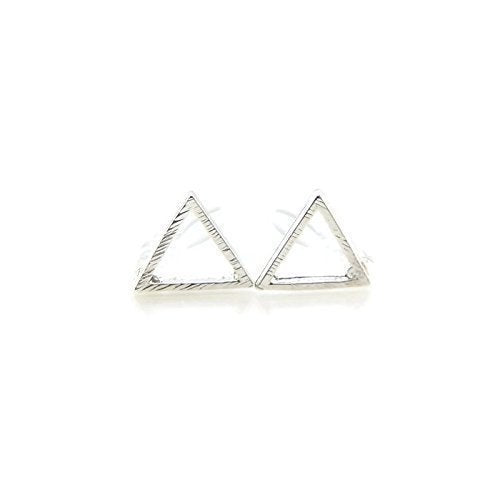 Invisible Clip On or Plastic Post Stud Look Earrings Open Triangle Stud