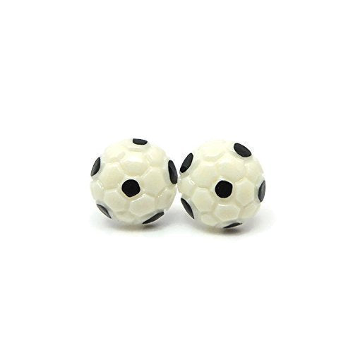 Metal Free Soccer Ball Earrings on platic posts hypoallergenic