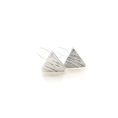 Triangle Invisible Clip On or Plastic Post Stud Look Earrings 9mm Brushed