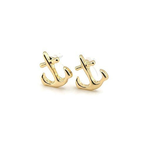 Anchor Invisible Clip On or Plastic Post Stud Look Earrings