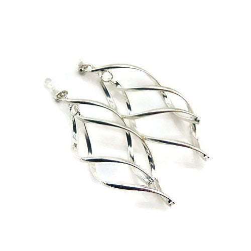 Twist Double Spiral Invisible Clip On Silver-Tone Dangle Earrings for Non-Pierced Ears