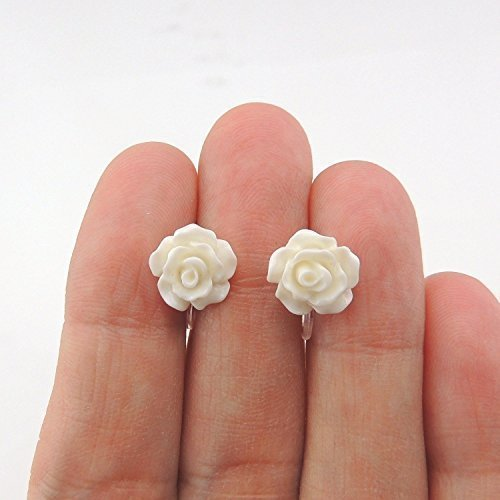 Flower Girl bridal party 10mm white rose stud earrings for non-pierced ears