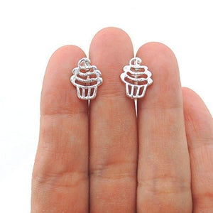 Invisible Clip On or Plastic Post Stud Look Earrings Birthday Cupcake