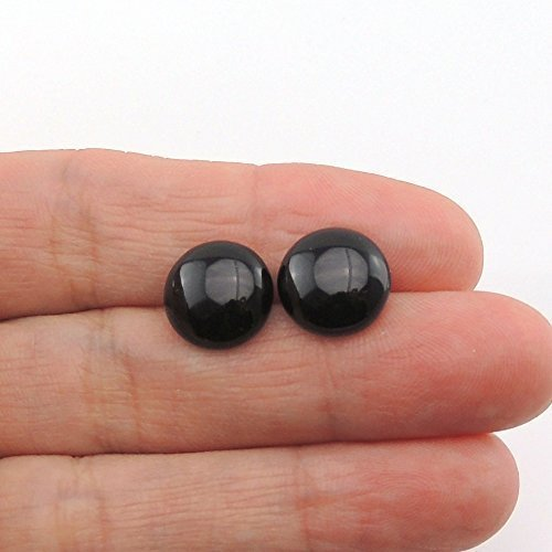 12mm Black Agate Cabochon Stone Earrings on Metal Free Plastic Post or Invisible Clip On