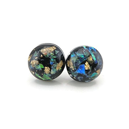 Plastic Post or Invisible Clip On Foil Filled Cabochon Earrings 12mm
