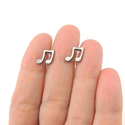 Music Note Invisible Clip On or Plastic Post Stud Look Earrings, 10mm