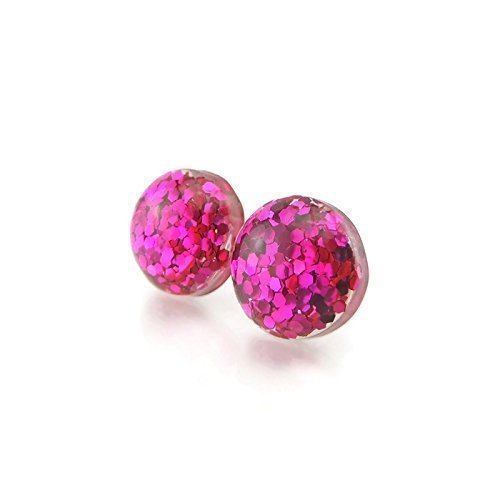 12mm Glitter Filled Resin Earrings on Metal Free Plastic Posts or Invisible Clip On