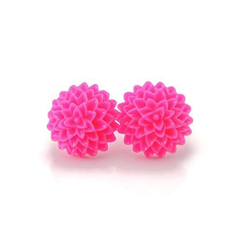 Metal Free bright pink Dahlia Earrings on Plastic posts for sensitive ears
