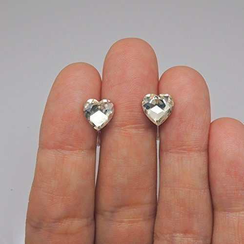 8mm Clear Heart Shaped Glass Rhinestones Earrings Invisible Clip On or Plastic Post