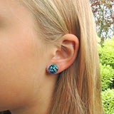 blue floral design, plastic post earrings
