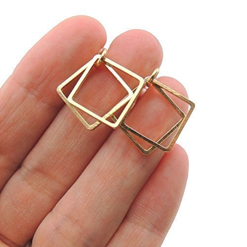 Double Hollow Box Invisible Clip On Dangle Earrings