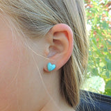 Plastic Post or Invisible Clip On Metal Free Heart Shaped Simulated Turquoise Stone Earrings