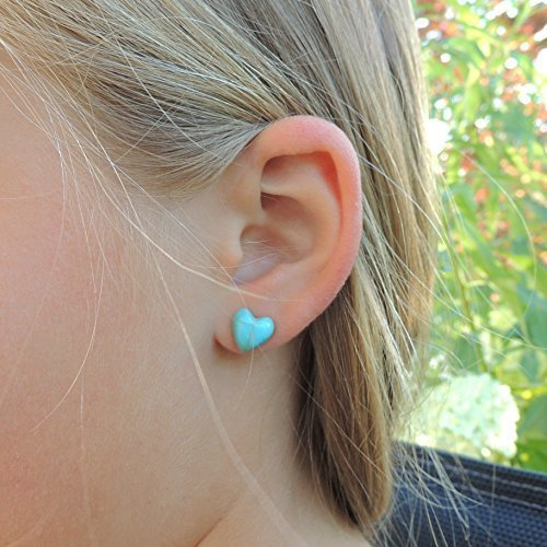 10mm Heart Shaped Simulated Turquoise Stone Earrings Metal Free Plastic Post or Invisible Clip On