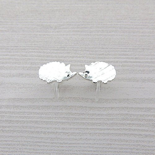 Hedgehog Invisible Clip On or Plastic Post Stud Look Earrings, 15mm