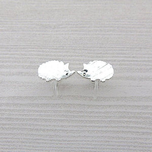Invisible Clip On or Plastic Post Stud Look Earrings, Hedgehog 15mm