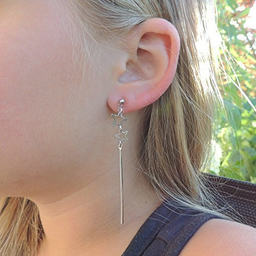 Double Star and Bar Dangle, Invisible Clip On Earrings for Non-Pierced Ears,