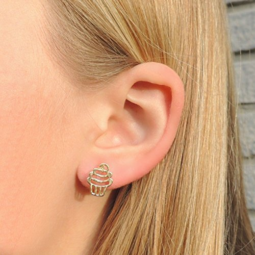 Birthday Cupcake Invisible Clip On or Plastic Post Stud Look Earrings