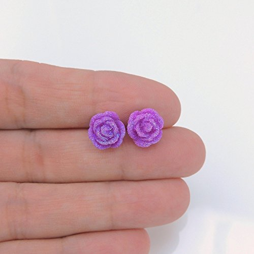 10mm Frosted Rose Floral Earrings on Plastic Posts or Invisible Clip On, Metal Free