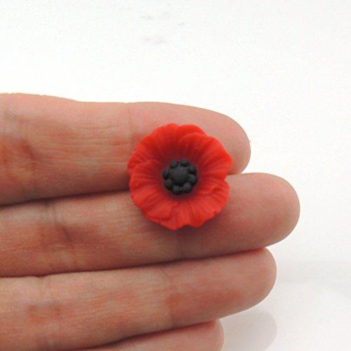 Red Poppy Metal Free Plastic Post Earrings for Sensitive Ears, 12mm or 19mm