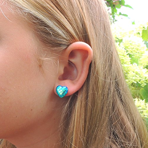 12mm Heart Shaped Mermaid Scale Stud Earrings on Plastic Post