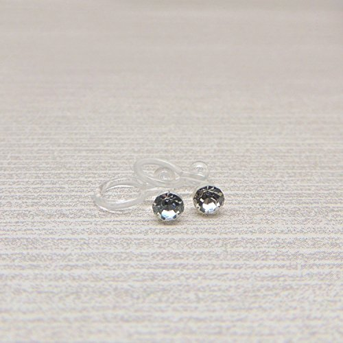 4mm Clear Glass Rhinestones Invisible Clip On Earrings