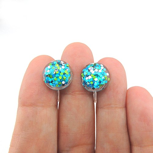 12mm Glitter Filled Resin Earrings, Multi Colors Plastic Post or Invisible Clip On