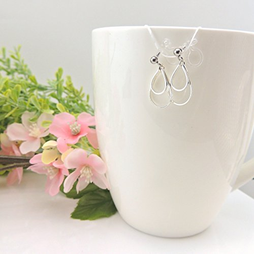 Double Hollow Teardrop Dangle Earrings Invisible Clip On for Non-Pierced Ears