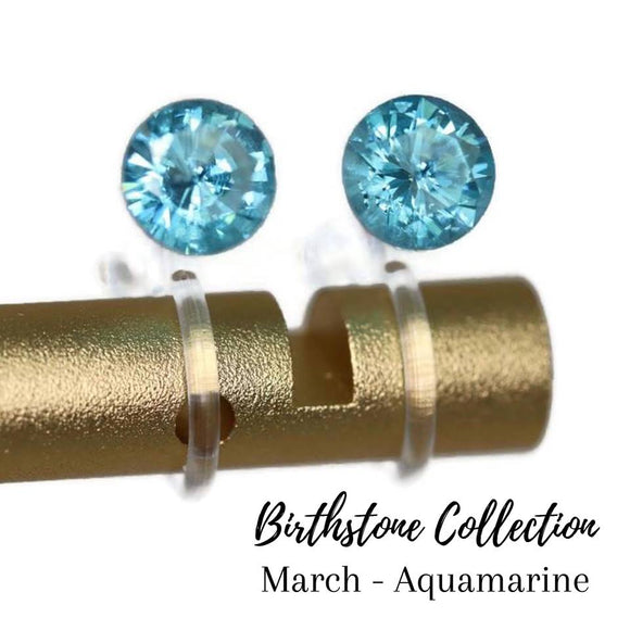 Plastic Post or Invisible Clip On Cubic Zirconia Aquamarine Earrings, 5mm March Birthstone