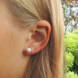 6mm Plastic Post or Invisible Clip On Metal Free Shell Pearl Earrings